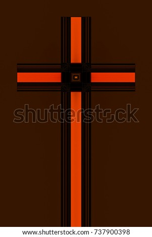 abstract design of a Christian cross in shades of