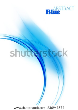 Abstract design of cover with blue fractal curve on a white background. Raster - stock photo