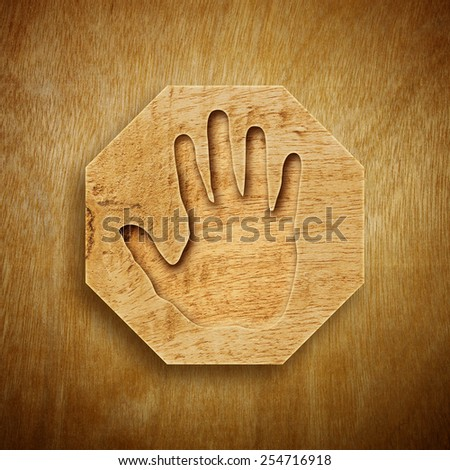 Abstract design of Hand print with Wood texture.  - stock photo