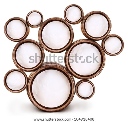 Abstract design of round shapes in the form of beer barrels on a white background. Inside the barrels textured watercolor paper. File contains the path to cut. - stock photo