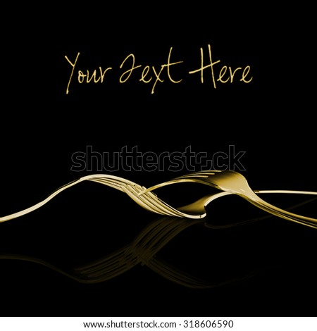 Abstract design of shiny gold metal fork utensils on clean black background. - stock photo