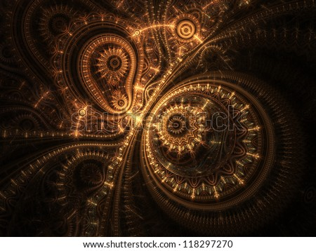 Abstract design of steampunk watch, digital fractal artwork - stock photo