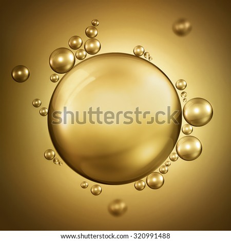 abstract design with air bubbles in oil - stock photo