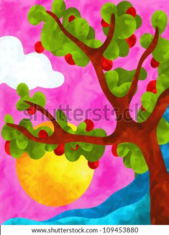 abstract design with apple tree - stock photo