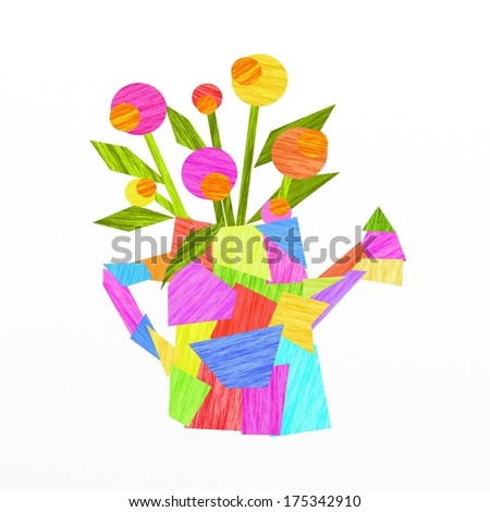 abstract design with flowers and watering can