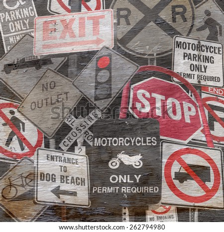 abstract design with signs on wood grain texture - stock photo