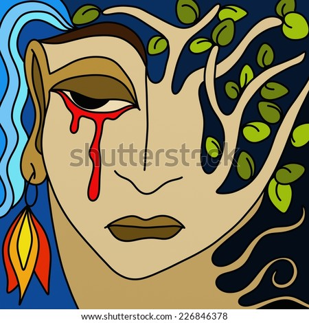 abstract design with the face of mother nature with tears of blood - stock photo