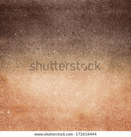 Abstract Designed grunge paper texture. Summer beach recycled paper textured background with film grain. Dark brown and yellow color. - stock photo