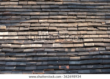 Abstract Detail of Old Slate Roof Tiles, abstract background - stock photo