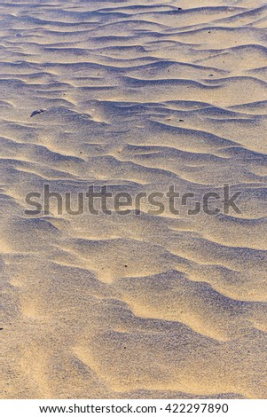 Abstract Detail Of Sand Dunes During Sunrise - Fuerteventura, Canary Islands, Spain - stock photo