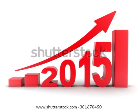Abstract diagram 2015 red (done in 3d) - stock photo