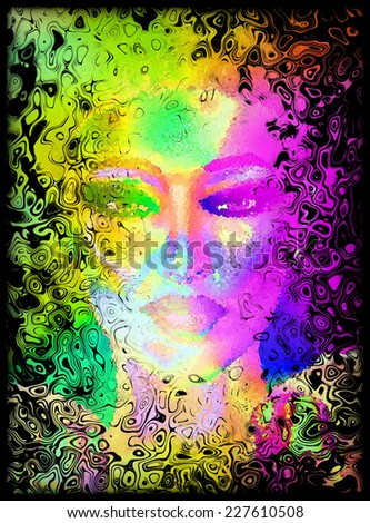 Abstract digital art image of a woman's face close up behind a colorful,dirty window effect. Great for expressing modern art, beauty or abstract themes.  - stock photo