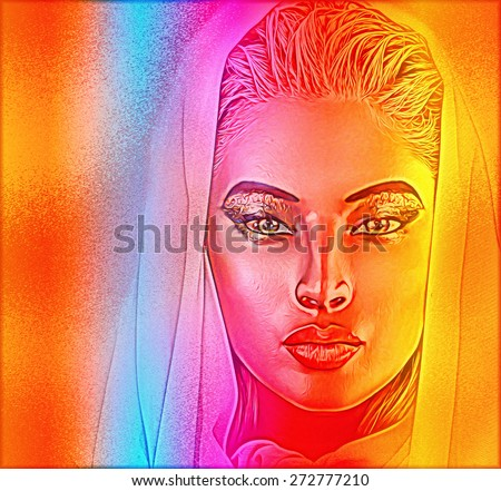 Abstract digital art image of a woman's face close up on a colorful textured background. Great for expressing modern art, beauty, spiritual or abstract themes.  - stock photo