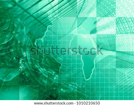 Abstract digital background in greens - digits, map and buildings.