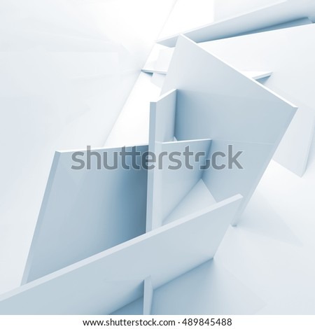 Abstract digital background, installation of square blocks. Blue toned 3d illustration, computer graphic