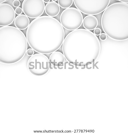 Abstract digital background pattern with rings and shadows over white backdrop, 3d illustration - stock photo