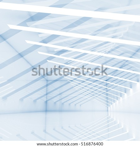 Abstract digital background with stripes of lights, blue square design template, 3d illustration
