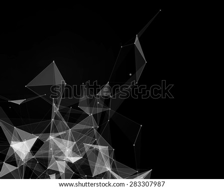 Abstract digital background with white geometric particles