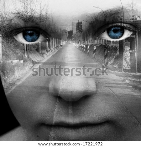 Abstract digital collage with female face and part of street - stock photo