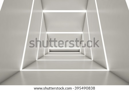 Abstract digital 3d white and light white space black background - 3d render - stock photo