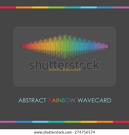 Abstract digital equalizer card - Multicolor rainbow wave on dark gray background - stock photo