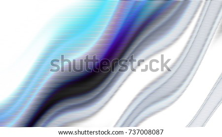 Abstract digital fractal pattern. Horizontal orientation. Expressive curved blue line on white background. Horizontal strikes pattern.