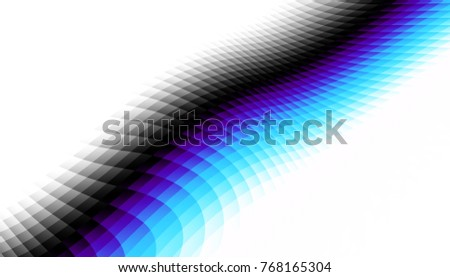 Abstract digital fractal pattern. Horizontal orientation. Expressive curved blue line on white background.