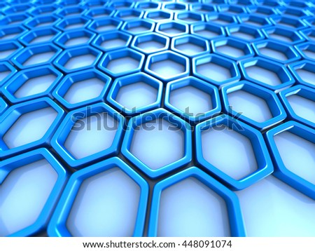 abstract digital futuristic hexagon background. 3d render illustration - stock photo