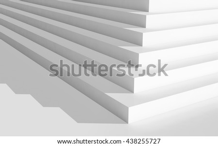 Abstract digital geometric background, empty white stairs with shadow, 3d illustration