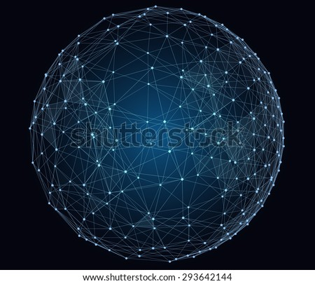 Abstract digital global network. Wire-frame illustration of globe. - stock photo