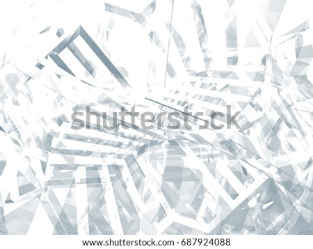 Abstract digital graphic background, intersected physical wire-frame structures. 3d illustration