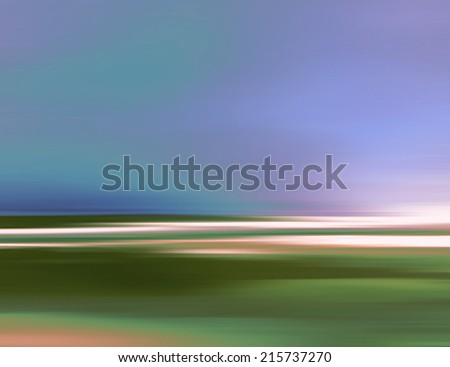 Abstract Digital Landscape with Sky, Horizon and Land in Blue/Green Colors - stock photo