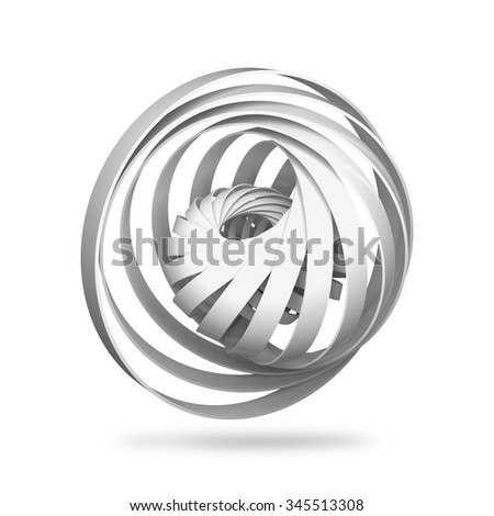 Abstract digital object, round 3d spiral structures isolated on white background - stock photo