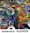 abstract digital painting, colorful graffiti collage - stock photo