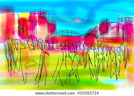abstract digital painting for background/abstract crowd/abstract digital painting for background