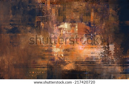 Abstract digital painting  of textured background in old rusty and brown  colors - stock photo