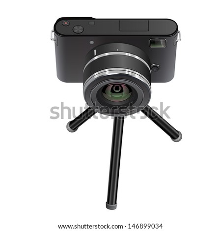 Abstract digital photo camera on small tripod. Raster illustration. - stock photo