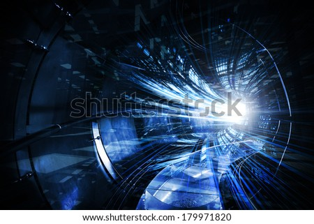 Abstract digital technology illustration with blue tunnel