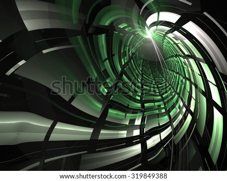 Abstract digitally generated background green and gray tunnel with light effects