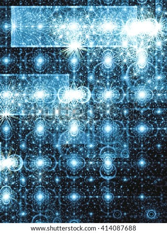 Abstract digitally generated blue image pattern of randomly distributed circles and rectangles. Fractal background with glowing elements for banners, posters, covers. - stock photo