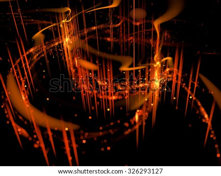 Abstract digitally generated dark background fire palace for bokeh or background