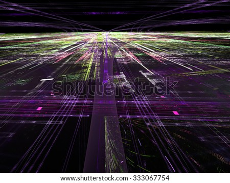 Abstract digitally generated dark technology backdrop with randomly spaced straight lines, horizon, perspective and light effects - stock photo