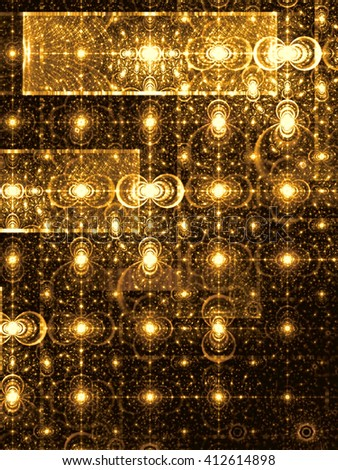 Abstract digitally generated golden image pattern of randomly distributed circles and rectangles. Fractal background with glowing elements for banners, posters, covers. - stock photo