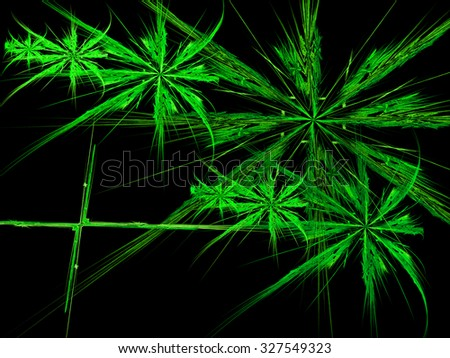 Abstract digitally generated image of futuristic green leaves on a black background