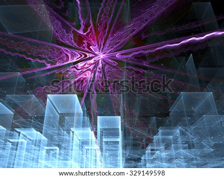 Abstract digitally generated image with receding to the horizon rows of cubes similar to a houses in the city of ice, and the bright star above them - stock photo