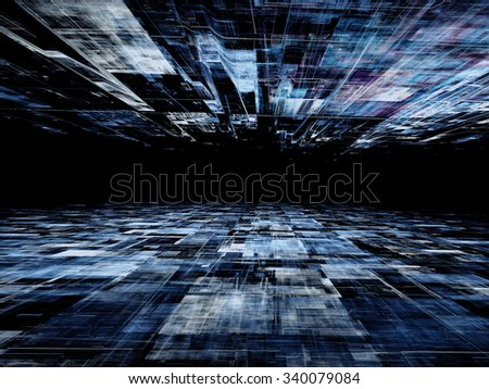 Abstract digitally generated technology background with  horizon, perspective, randomly spaced straight lines and grid - stock photo