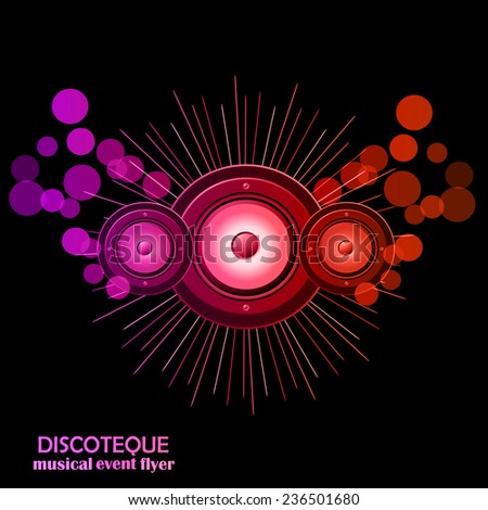 Abstract disco club flayer with colorful  elements. Ideal for poster and music background.