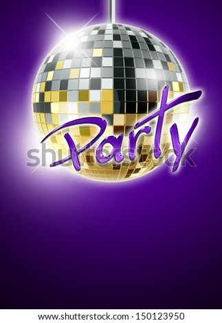 Abstract disco mirrorball poster background with space - stock photo