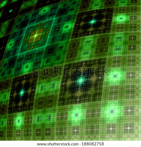 Abstract distorted square tapestry background in high resolution with a detailed geometric grid pattern in dark green and yellow colors