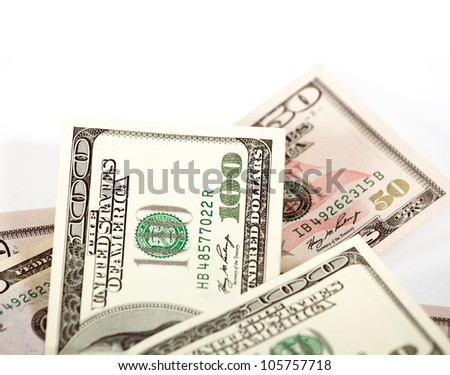 Abstract dollars concept against white, background with one hundred dollars - stock photo